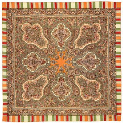 Павловопосадский платок шерстяной с осыпкой (оверлоком)