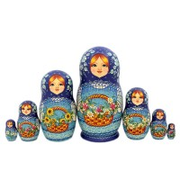 Россия Матрешка 7 мест Цветы авт.Дроздова 25см(1346870)-2 россия шк в ярославле 25 5