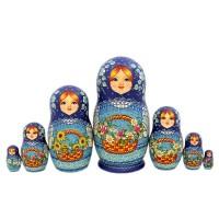 Россия Матрешка 7 мест Цветы авт.Дроздова 25см(1346870)-2