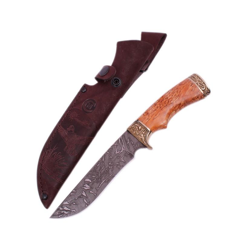 Нож Галеон дам.ст.,литье,рукоять из стабил.карельск.березы