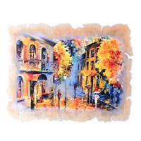"""Картина из оникса """"Осень в городе"""" рисованная"""