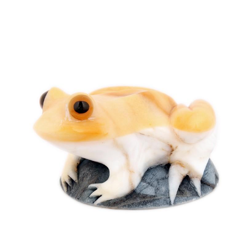 """Скульптура из камня """"Лягушка"""" желт."""