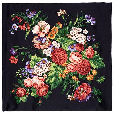 Павловопосадский платок шелковый (атлас)