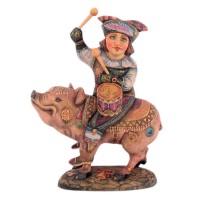 Скульптура Шут на свинье с барабаном скульптура дама с собачкой