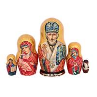 Россия Матрешка Николай чудотворец 5 мест икона янтарная святой николай чудотворец иян 2 705