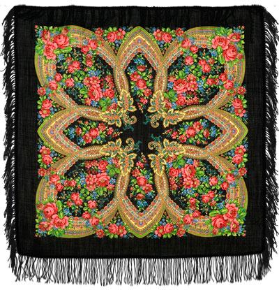 Павловопосадский платок шерстяной с шерстяной бахромой
