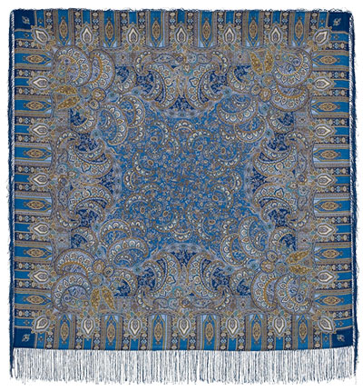 Павловопосадский платок шерстяной с шелковой бахромой Садко, 125х125 см