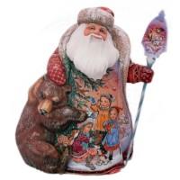 Скульптура из дерева дед мороз с медведем russia made фигурка дед мороз с медведем резной 22см