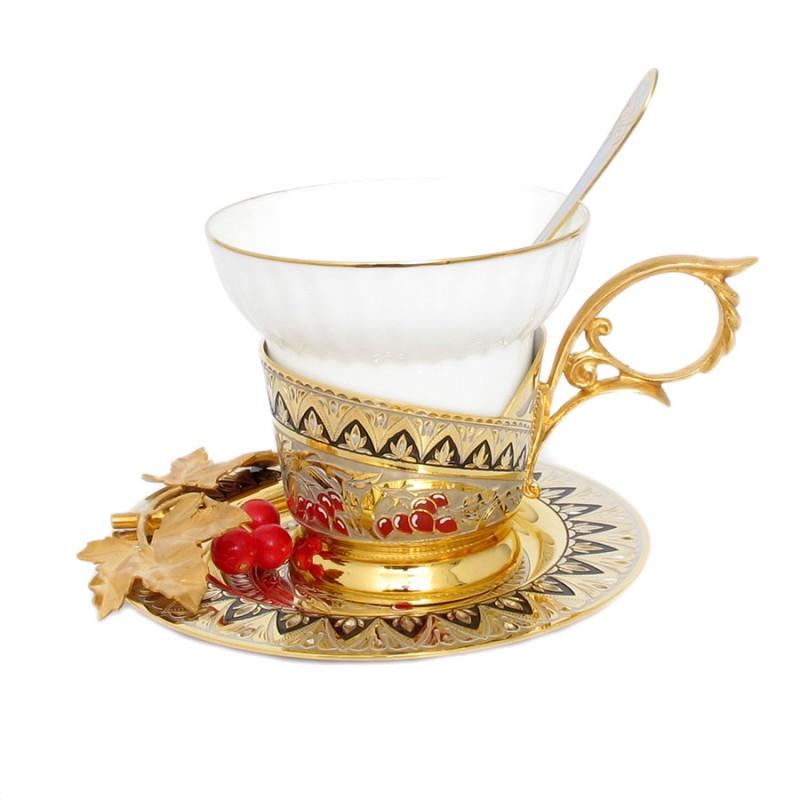 908/2 Чашка с блюдцем, ложка Калина