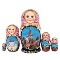 """Матрешка 5 мест """"Москва"""" авт.Михалкина 10см(1326075)-1"""