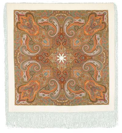 Павловопосадская шерстяная шаль  с шелковой бахромой