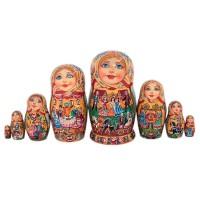Россия Матрешка 8 мест Городецкая 19 см
