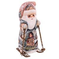 """скульптура из дерева """"Дед мороз на лыжах"""" 7171"""