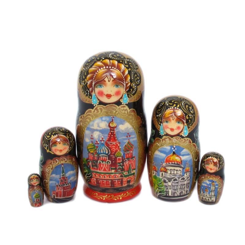"""Матрешка 5 мест """"Москва"""" 11см от Наследие"""