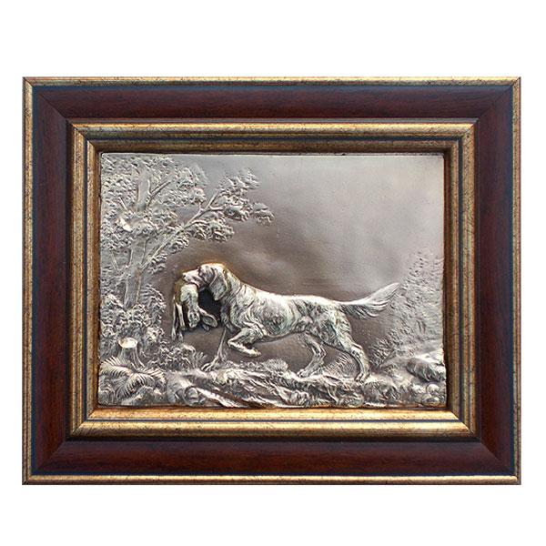 """11-057 Плакетка """"Собака с зайцем"""" 21х26 от Наследие"""