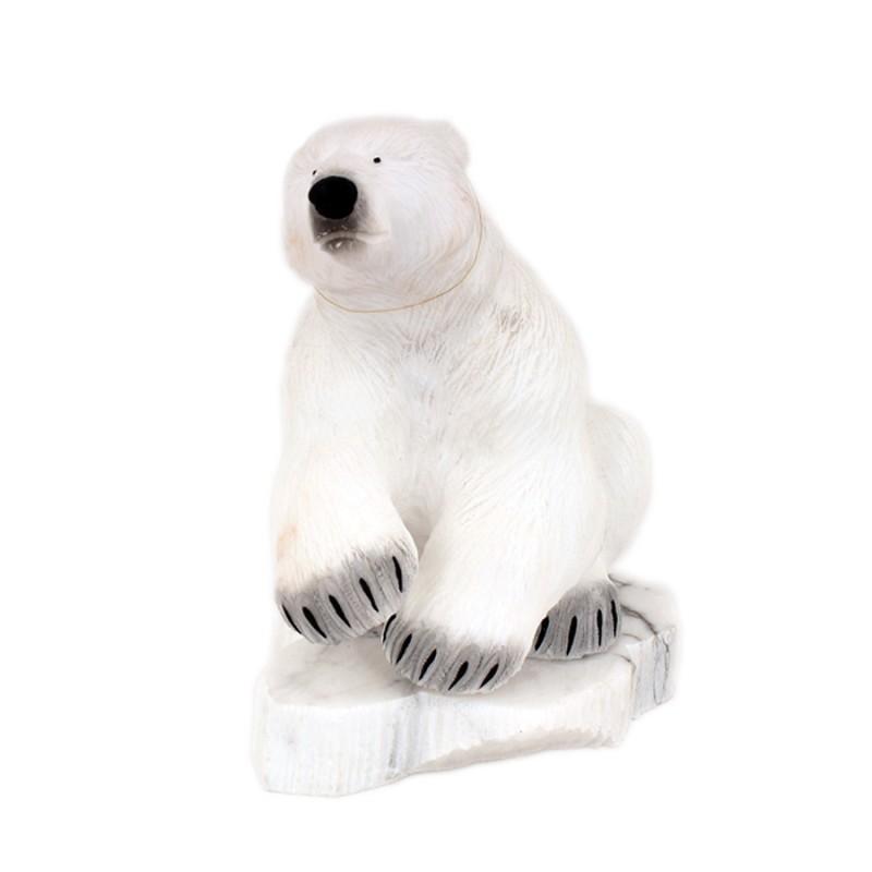 "Скульптура из камня ""Медведь"" белый"