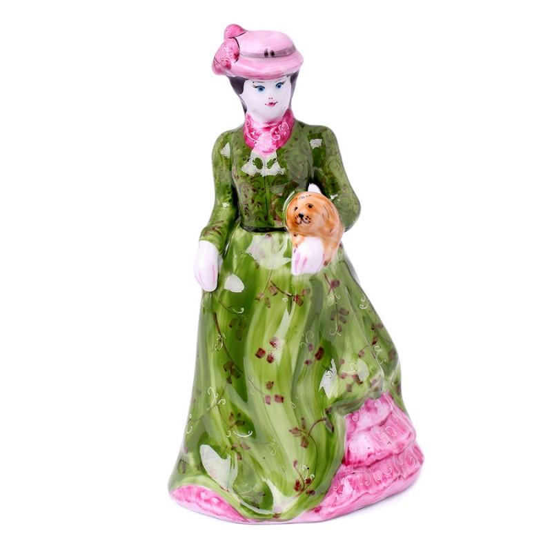 Колокольчик Дама с собачкой кр.в/з скульптура дама с собачкой