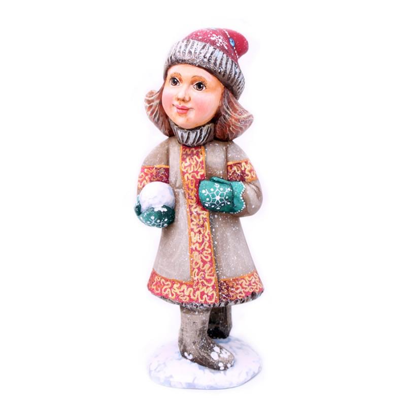"""Скульптура из дерева """"Дети.Зима"""" 17-18см от Наследие"""