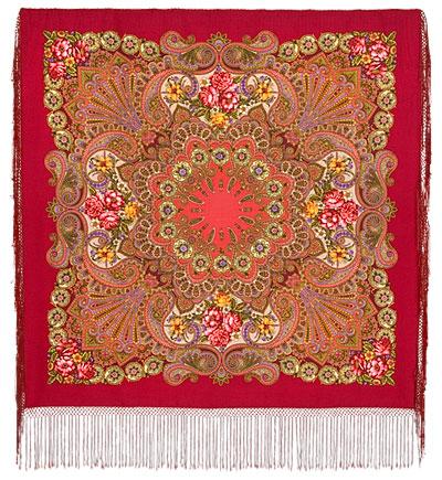 Павловопосадская многоцветная шерстяная шаль  с шелковой бахромой