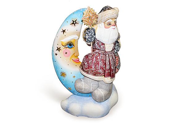 Россия Скульптура из дерева Дед Мороз на луне сказки дерева подвеска ангел на луне