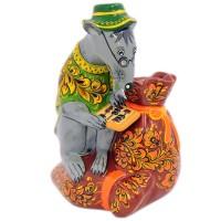 скульптура Крыса с мешком хохлома каска хохлома роспись черный фон