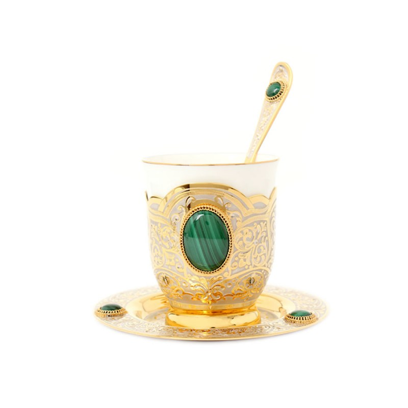 26 Чашка, ложка, блюдце (фарфор, кабошоны) 683 подстаканник стакан ложка кабошоны сапфирин