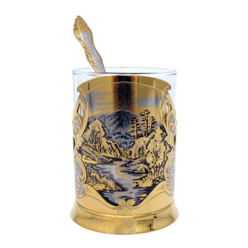 Россия 00000002987 Подстаканник с ложкой 683 подстаканник стакан ложка кабошоны сапфирин