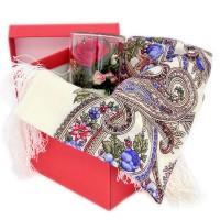 Подарочный набор 8 марта (платок шерсть с шелковой бахромой +цветок) платки venuse 73019 набор подарочный платок браслет