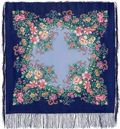 Павловопосадский платок шерстяной с шелковой бахромой