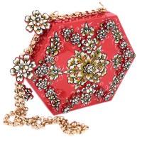 7761 РЗ Бижутерия с миниатюрой Сумка шестигранная ЗД объем с накладными элем (Коллекционное изделие)