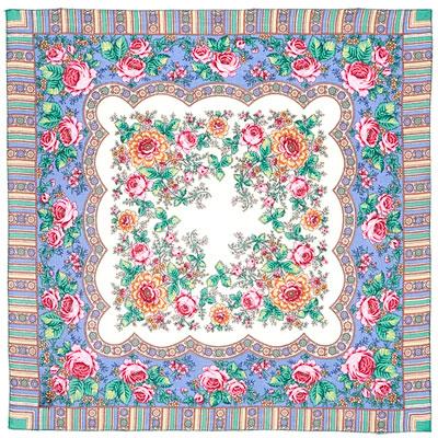 Павловопосадский платок шерстяной с осыпкой (оверлоком) Алёнушка, 89x89 см