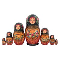 Россия Матрешка 7 мест Цветы авт.Дроздова 25см(1346870)-3