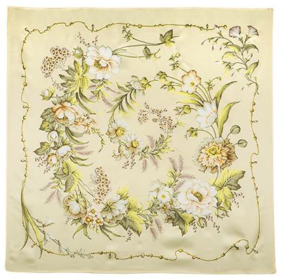 Павловопосадский платок шелковый (атлас) Белый танец, 89x89 см