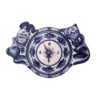 Часы Заяц и Кот гжель часы настенные гжель