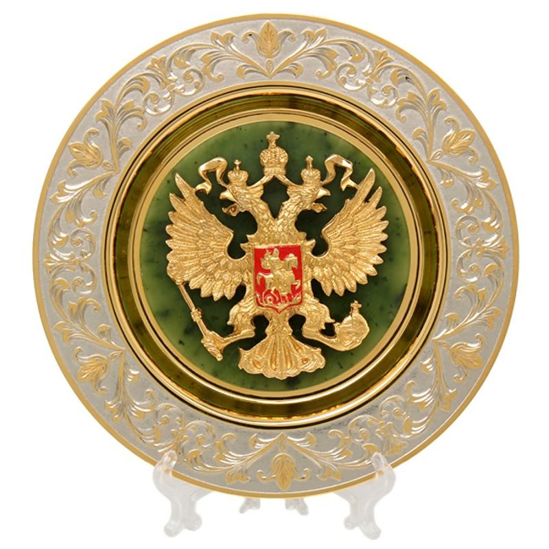 Тарель Герб РФ нефрит малая плакетка герб министерства внутренних дел рф мвд россии малая