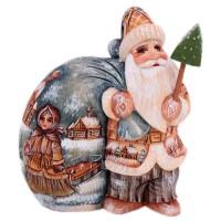 """Скульптура из дерева """"Дед мороз"""" рис.девочка с санками"""