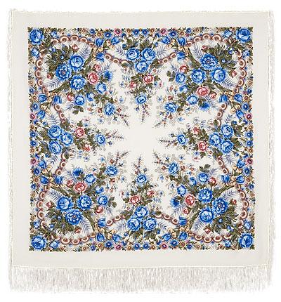 Павловопосадский платок шерстяной с шелковой бахромой Весеннее утро, 125х125 см